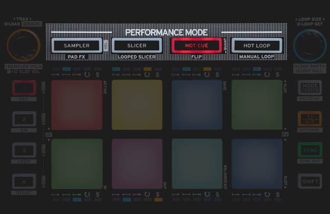 Reloop Mixtour colour-coded pad perfomance section